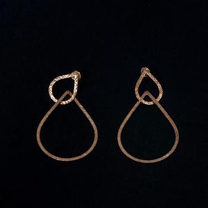 Boucles d'oreilles gouttes argent plaqué or deux en un